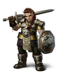 Female Dwarf Fighter - Pathfinder PFRPG DND D&D d20 fantasy