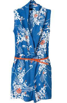 geblümter Jumpsuit mit V-Ausschnitt, blau-Sheinside