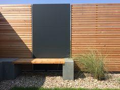 Privacy screen for the garden made of larch & Trespa HPL Outdoor Sofa, Outdoor Living, Outdoor Decor, Garden Structures, Outdoor Structures, Real Plants, Garden Inspiration, Outdoor Gardens, Home And Garden