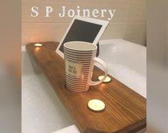 Handgemaakte houten Bad dienblad met Tablet / boek houder