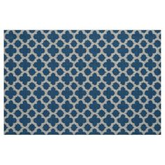 Tropical Teal Ink Blue Ikat Quatrefoil Pattern Fabric - #chic gifts diy elegant gift ideas personalize