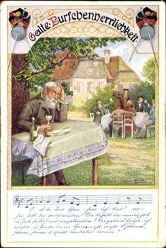 Studentika-Lied-Ak-Ezel-O-alte-Burschenherrlichkeit-Alter-Mann-1270847