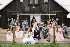 Semi-candid, relaxed wedding party. Indiana barn wedding. The Barn at Kennedy Farm.