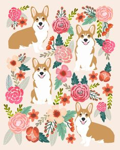 Corgi floral spring bloom flowers nature garden dog dog breeds corgis cute corgi puppies love Art Print
