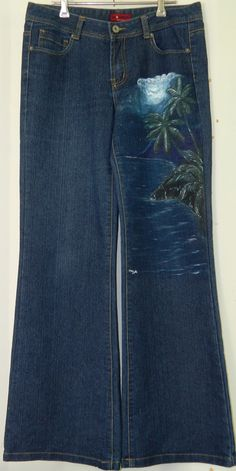 Hand Painted Denim Jeans with Night Beach Scene Women's size 10