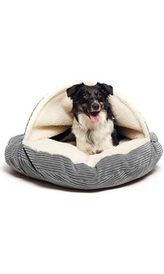 "Precious Tails Gray Corduroy Round Cave Hamburger Pet Bed with Sherpa Interior & Plush Fur Interior 35"" Best Price"
