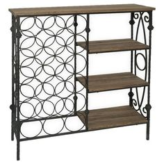 Wood and metal wine rack with three shelves and an 18-bottle holder.  Product: Wine rackConstruction Material: Wood a...