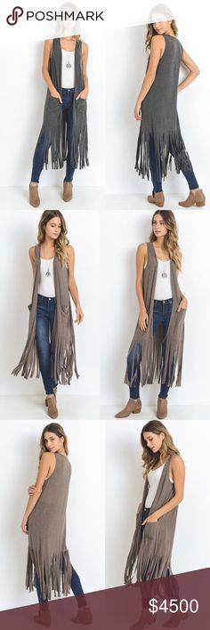 Coming ❣️Charcoal Long Body Vest With Fringe Hem Coming ❣️Charcoal Long Body Vest With Fringe Hem. Lightweight, Fabric 65% Cotton 30% Polyester 5% Spandex. Also Available in Black & Mocha. Booties are sold separately. No Trades. Price is Firm Unless Bundled. Glamvault Jackets & Coats Vests