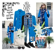 """""""It's about the Blue Coat and Plaid Scarf"""" by ester-ludwig ❤ liked on Polyvore featuring Lands' End, MICHAEL Michael Kors, Proenza Schouler, Marc by Marc Jacobs, Henri Bendel, NARS Cosmetics, Darice, Laura Cole, Skechers and Prada"""