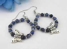 """Sodalite Gemstone with Butterfly charms -- By """"The Singing Beader"""" -- Perfect Gift For Mom, Gifts For Mom, Great Gifts, Mother Gifts, Mothers, Blue And Silver, Dark Blue, Handmade Bracelets, Handmade Gifts"""