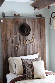 Repurposed -- barn door headboard in boys room