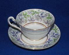 VINTAGE ROSINA BONE CHINA CUP & SAUCER-MADE IN ENGLAND-PURPLE,GREEN LEAVES,MARKD #Rosina