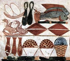 4 - la gastronomía del antiguo Egipto era variada, incluyendo sobretodo frutos, aves y pescado