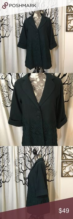 Anthropologie Darling Wool Swing Pea Coat Gorgeous wool blend swing coat by Darling for Anthropologie in a beautiful dark, rich green color. Pretty lace overlay around the bottom half of the coat. Fully lined. 3/4 sleeves. Wool/polyester/acrylic/viscose/cotton blend is nice and warm. Perfect condition with no flaws or signs of wear. SZ M but could work for some larger SZ S. Measurements given in photos. Such a gorgeous coat! Anthropologie Jackets & Coats Pea Coats