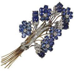 1940s Sapphire Diamond Gold Platinum Floral Brooch