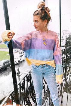 2019 Women's Rainbow Sweaters Macaron Slim Knitted Pullover O-neck Autumn&Winter Knitwear Ladies Short Jumper Woman Tops Top Fashion, Sweater Fashion, Sweater Outfits, Cute Outfits, Womens Fashion, Fashion Boots, Fashion Trends, Fashion Sandals, Fashion Dresses