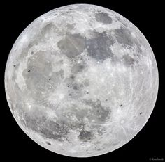 Supermoon and International Space Station | What are those specks in front of the Moon? They are silhouettes of the International Space Station (ISS). Using careful planning and split-second timing, a meticulous lunar photographer captured ten images of the ISS passing in front of last month's full moon. But this wasn't just any full moon—this was the first of the three consecutive 2016 supermoons.