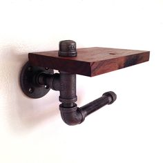 Reclaimed Wood & Pipe Toilet Paper Holder by arc + timber available at Scoutmob now. The place to get inspired goods by local makers. Pipe Furniture, Unique Furniture, Unique Toilet Paper Holder, Industrial Toilets, Painting Lamps, Black Pipe, Man Cave Bar, Dot And Bo, Bathroom Ideas