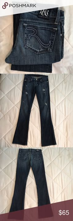 "Rock & Republic Jeans Wonderful jeans in a medium wash with a bit of distress. In Very Good condition. Size 25 by 33"" inseam. Rock & Republic Jeans Flare & Wide Leg"