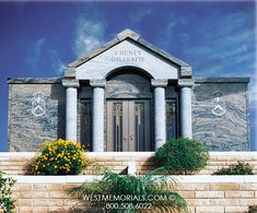Discover our beautiful bird granite mausoleum design featuring a gorgeous floral arrangement and a bronze decorative door. Contact us if you love this design. 2017 Design, Beautiful Birds, Granite, This Is Us, Construction, Memories, Mansions, Architecture, House Styles