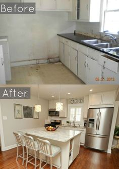 Before And After Of Our 1940u0027s Bungalows Kitchen #baystreetbungalows  #houseflipu2026