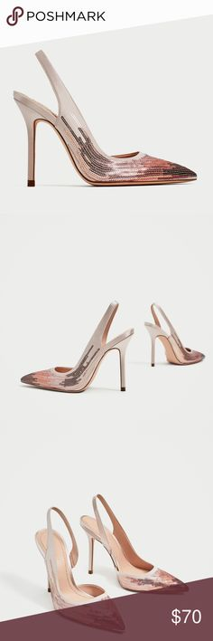Zara Sequinned Slingback heels New with tags. High heel slingback shoes with sequinned upper in ombré rose gold and strap around the heel. Heel height of 10.8 cm. / 4.2″ Zara Shoes Heels
