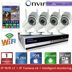 4CH Wifi H.264 Wireless IP Camera CCTV DVR NVR Day Night Home Security System US