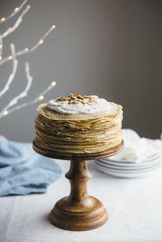 Coconut amaretto crepe cake. It's gluten-free, grain-free and refined sugar free…