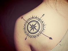 """compass tattoo. 18/9/2013. #thirdpartyyy That moment when people see my tattoos. Compliment keeps coming. """"I designed them!"""" I said. proudly :)"""