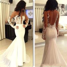 $189.99 White Trumpet/Mermaid Long Sleeves Natural Zipper Appliques Prom Dresses 2017products_id:(1000075476 or 1000075461 or 1000075143 or 1000074533 or 1000073444)