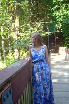 Blooming blues maxi dress in Mood's cotton voile.  #moodfabrics