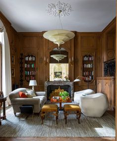 Bryan O'Sullivan Has Revived a Paris Mansion's Old Majesty - Introspective De Gournay Wallpaper, Pierre Yovanovitch, Design Salon, Custom Mirrors, Stone Flooring, Elegant, Table And Chairs, Modern, Family Room