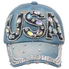 Beautiful USA Jeweled hat.  This bling hat is a trendy accessory to top off your street style.