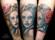 Day of the Dead Portrait with Roses Tattoo by Rain at Body Language Tattoo Shop NYC