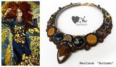 Haute couture inspired yallow blue brown colors Beaded statement necklace RebelSoulEK handmade jewelry