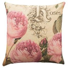 """Cotton denim pillow with a rose motif. Handmade in the USA.   Product: PillowConstruction Material: 100% Cotton denimColor: Pink and beigeFeatures:  Insert includedZipper enclosureMade in the USA  Handmade by TheWatsonShop   Dimensions: 16"""" x 16""""Cleaning and Care: Dry clean"""