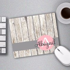 Faux Wood Monogram Mouse Pad. Replace your boring mouse pad with one of our beauties. Gold dots are a print that look like gold glitter. There is no actual glitter on the mouse pad. Classic Monogram o