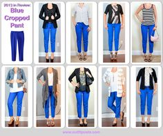 Outfit Posts: outfit post: black & white print top, black suit jacket, cobalt blue cropped pant