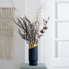 This large wall decor is a nod to the add texture an richness to your wall with this unique knotted Bloomingville large white macrame wall hanging. Material: Cotton Knotted macramé technique Dimensions: x cm Macrame Wall Hanger, Easter Tree Decorations, Metal Vase, Bouquet, Black And White Design, Muted Colors, Cut Glass, Dried Flowers, Modern
