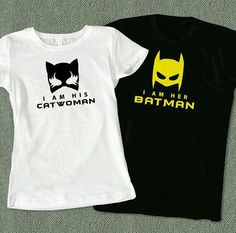 Superhero Couples Tees - I am Her Batman and I am His Catwoman Couples T-Shirt - Color Available Couple Tees, Couple Tshirts, Cool Shirts, Tee Shirts, Creative Shirts, Single Party, Batman Shirt, Batman Converse, Superhero Tshirt