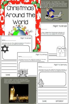 Go around the world to different countries to learn how they celebrate Christmas, Hanukkah, and Kwanza. These PowerPoints include video clips to make them fun and engaging. Classroom management is built in so students stay on task. Questioning is also built in to build comprehension. Each video has a writing page for students to write a nonfiction piece about what they learned from each country. Along with the videos children can do a short activity with each country.