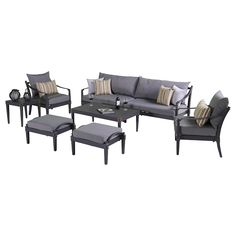 Astoria 8 piece Sofa and Club Chair Set in Charcoal Grey