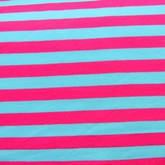 Turquoise Blue and Fuschia Stripe Cotton Lycra Knit Fabric