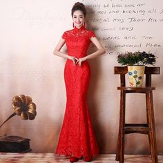 Long Modern Qipao Dress Women Cheongsam Red Lace Wedding Dresses Chinese Traditional Oriental Evening Gown Robe Chinoise Qi Pao