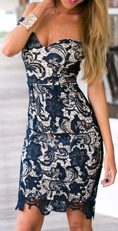 Crochet Lace Back Slit Bodycon Dress