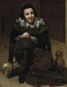 Velázquez - El Bufón Calabacillas (Museo del Prado, 1636-37). El bufón Calabacillas (1637-39). Uno de los retratos más angustiosos de Velázquez. Se representa al bufón de forma realista con sus manos de epiléptico, el estrabismo evidente en su mirada y su sonrisa provocada por un gesto deforme y asimétrico.