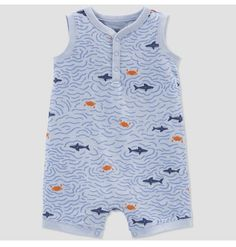 Shark Swimming, Gold Baby Showers, One Piece Outfit, Fitness Fashion, Color Blue, Rompers, Sharks, Baby Boys, Romper