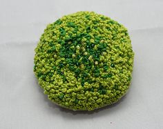 french knot embroidered brooch, green moss brooch, wood treasure, seadbead accents, fiber art