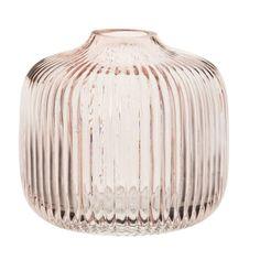 Vase en verre strié teinté rose H11 | Maisons du Monde