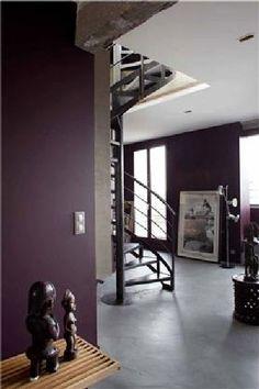 Deux nuances de gris subliment les murs aubergine de l'entrée